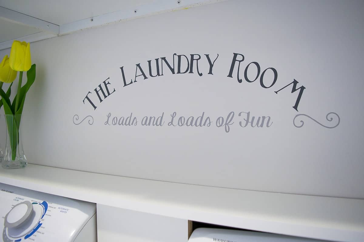 Laundry Room Wall Stencil with Text Loads and Loads of Fun