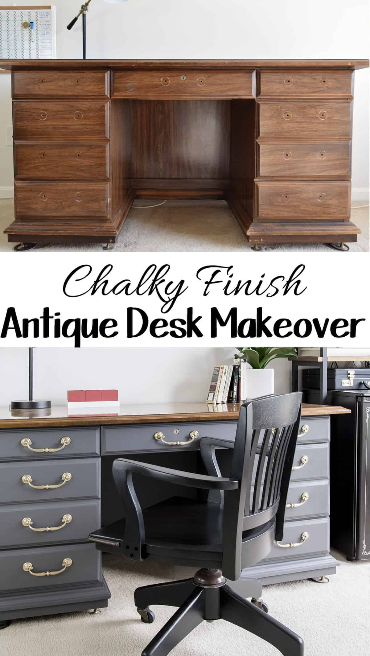 Vintage desk in home office before and after refinishing with chalky finish gray paint and brass hardware.