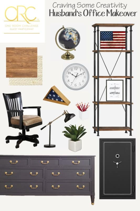 Collage of masculine and patriotic office ideas with furniture and decorative pieces.