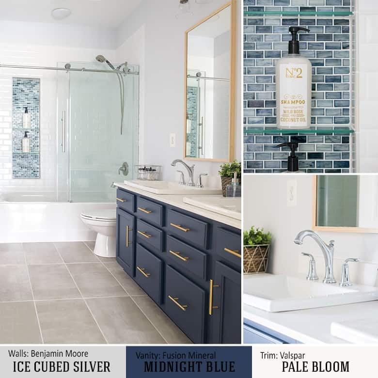 Modern Bathroom Design with midnight blue Double Vanity and Vintage Details with mosaic tile accent