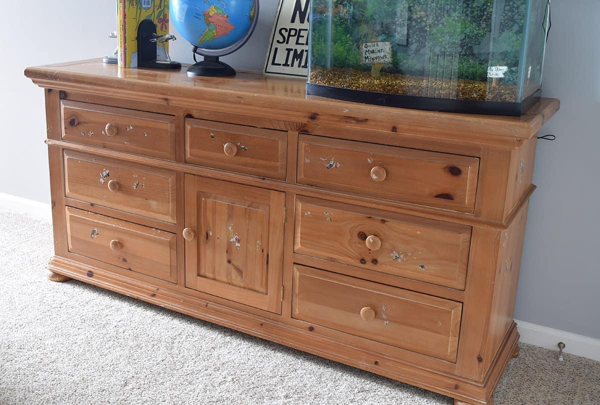 Pine dresser craiglist find before refinishing