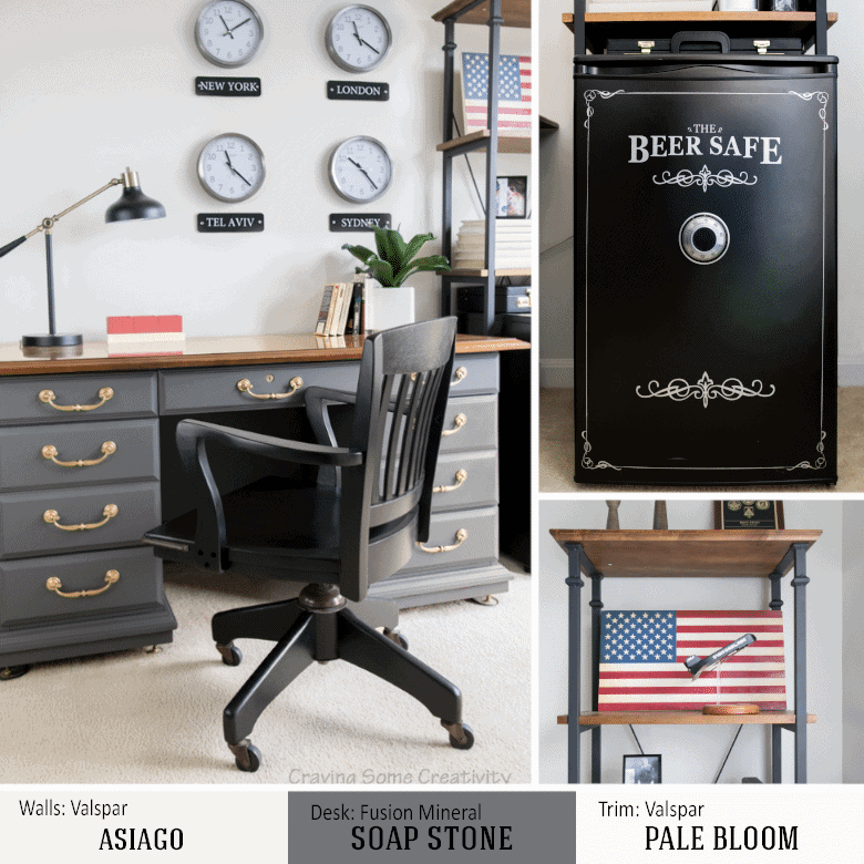 Man office with beer safe and masculine patriotic decor