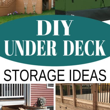 Collage of Under Deck storage ideas including doors, drawers, a shed, and organization.