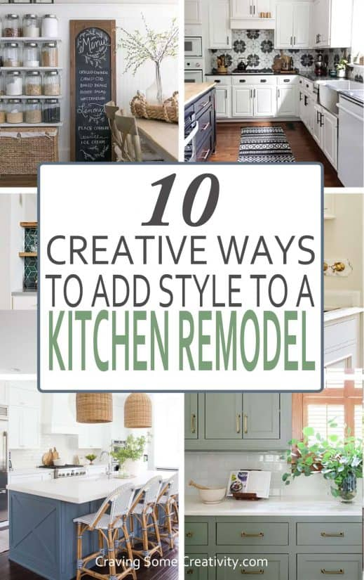 Collage of creative kitchen remodel ideas.