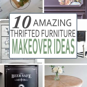 Collage of furniture makeovers including a white dresser, floral dresser, liming wax table, and painted refrigerator. Post title overlay included.