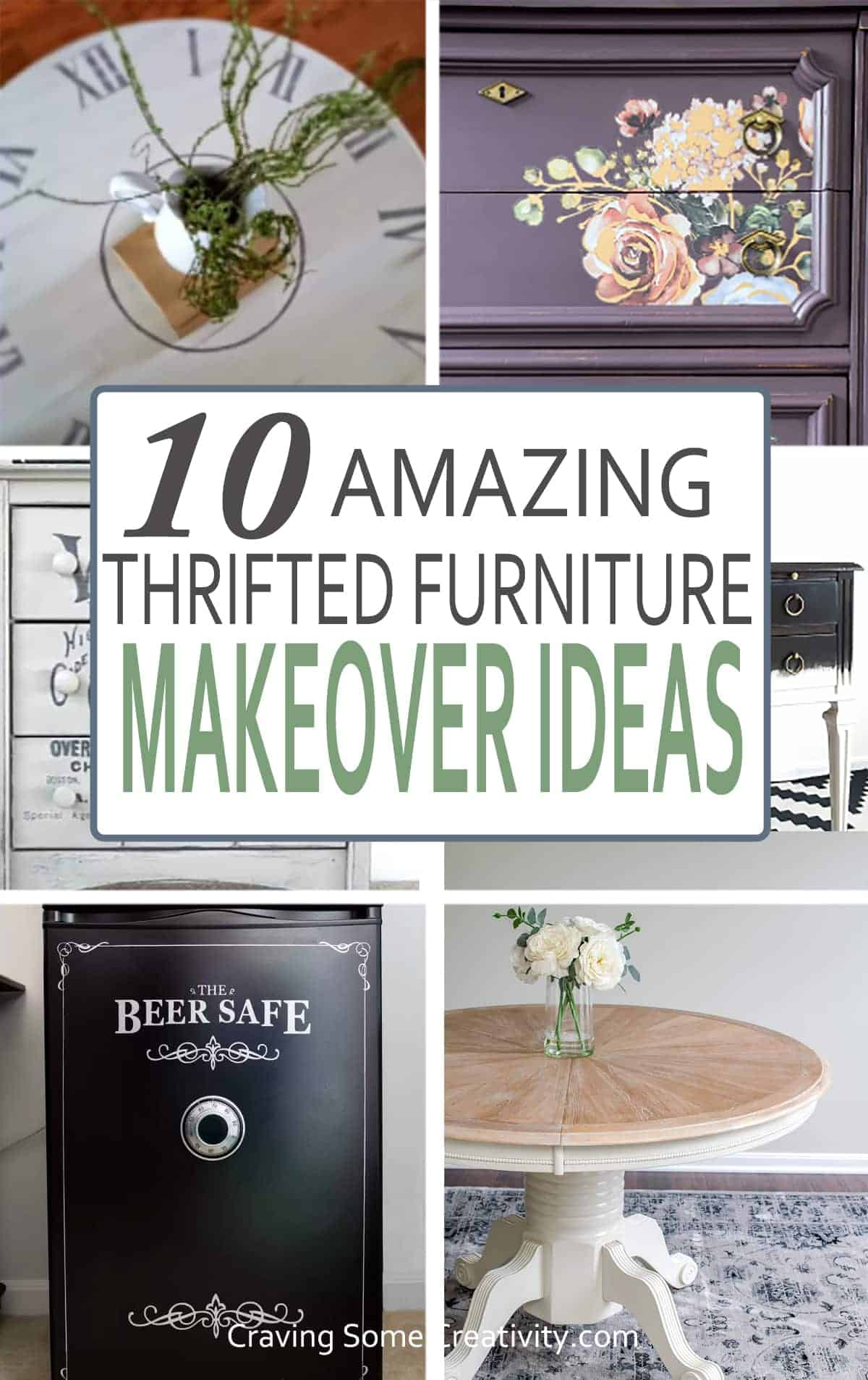 Collage of thrifted furniture makeovers including a painted refridgerator, a purple dresser and painted tables with post title.