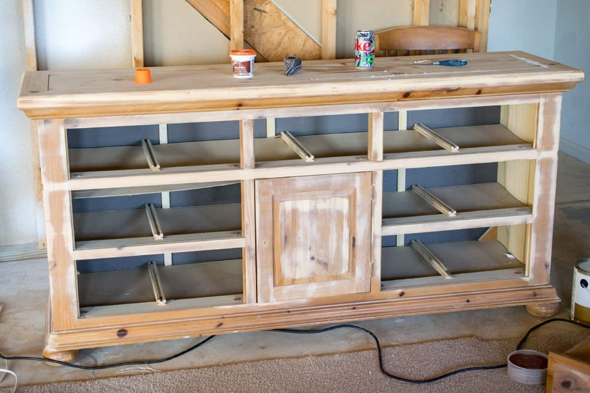 Sanded dresser prepped for priming and painting.