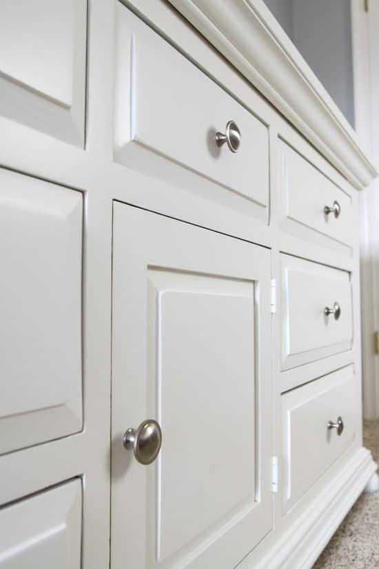 White painted dresser side shot.