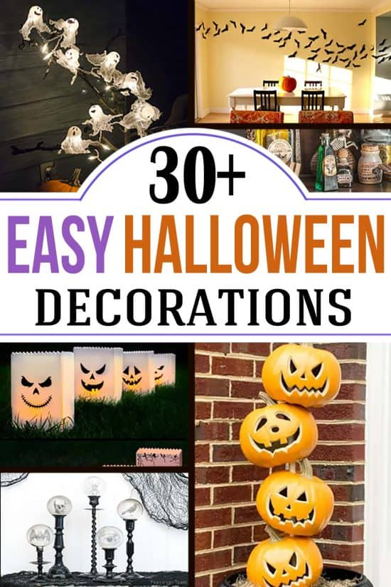 Collage of DIY halloween decorating ideas with title Easy Halloween Decorations.