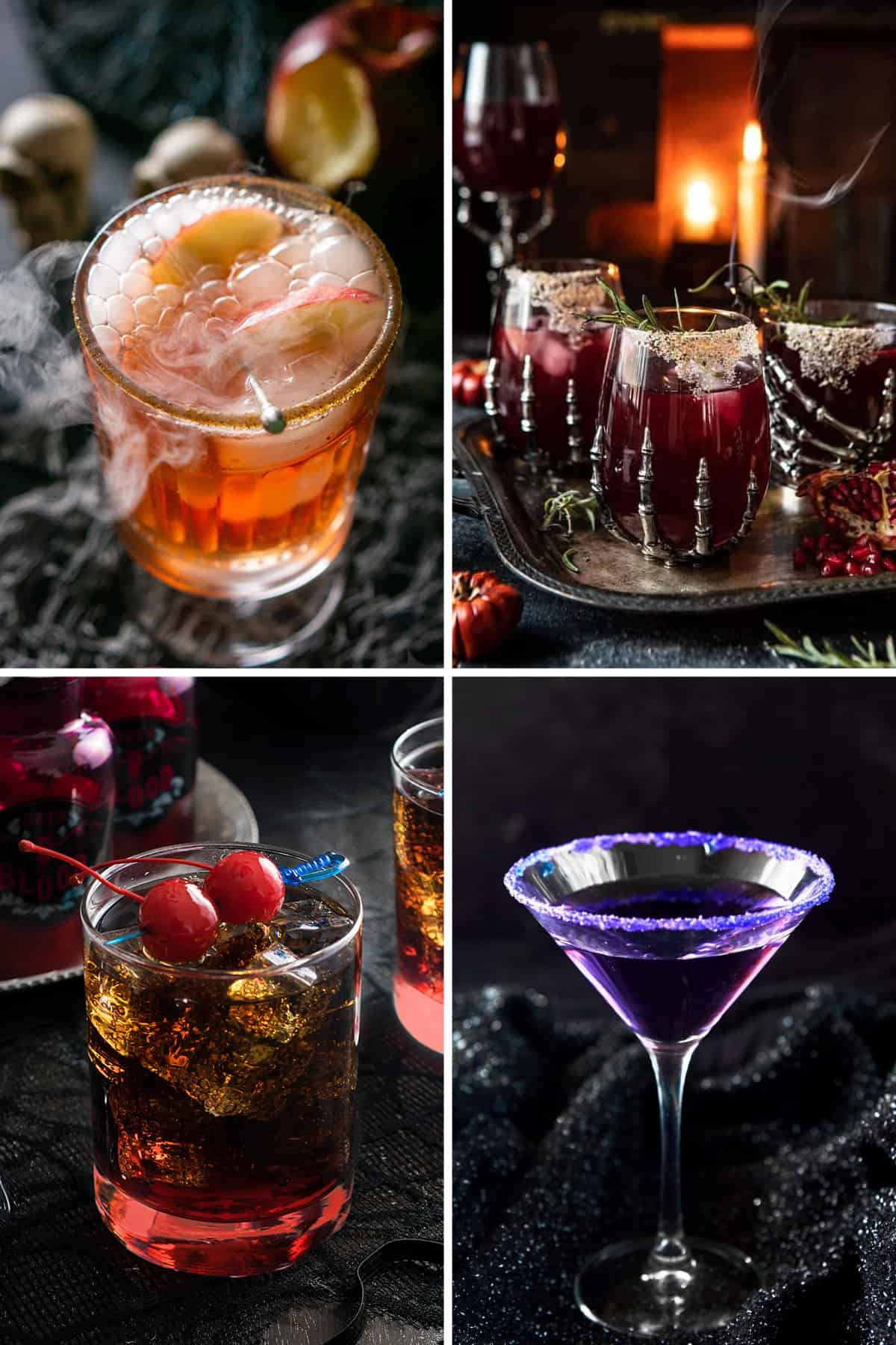Collage of Halloween cocktails including apple cider, purple people eater martini, and pomegranate punch.