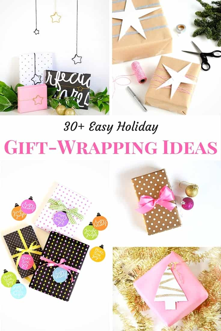Unique holiday gift wrapping idea mashup with ornaments and wrapping supplies