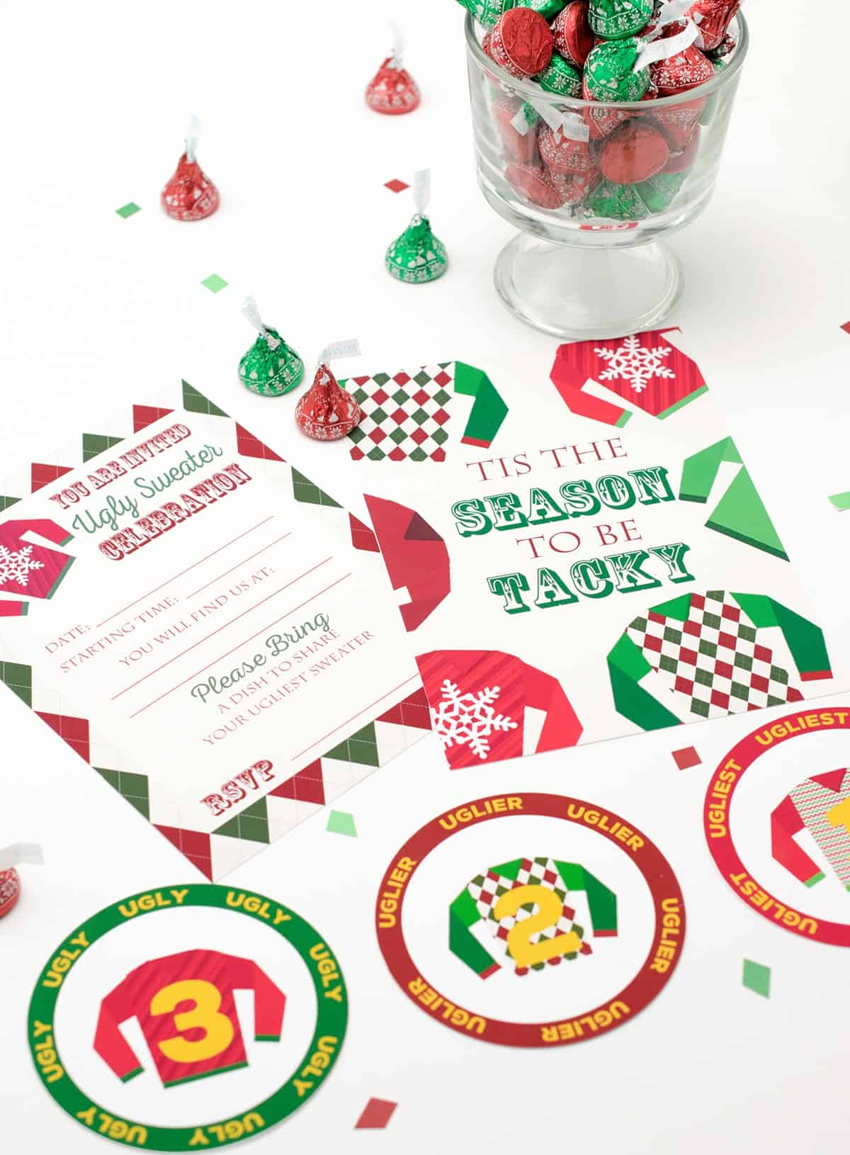 Free printable Christmas invitations for ugly Christmas sweater party next to bowl of Hershey's kisses