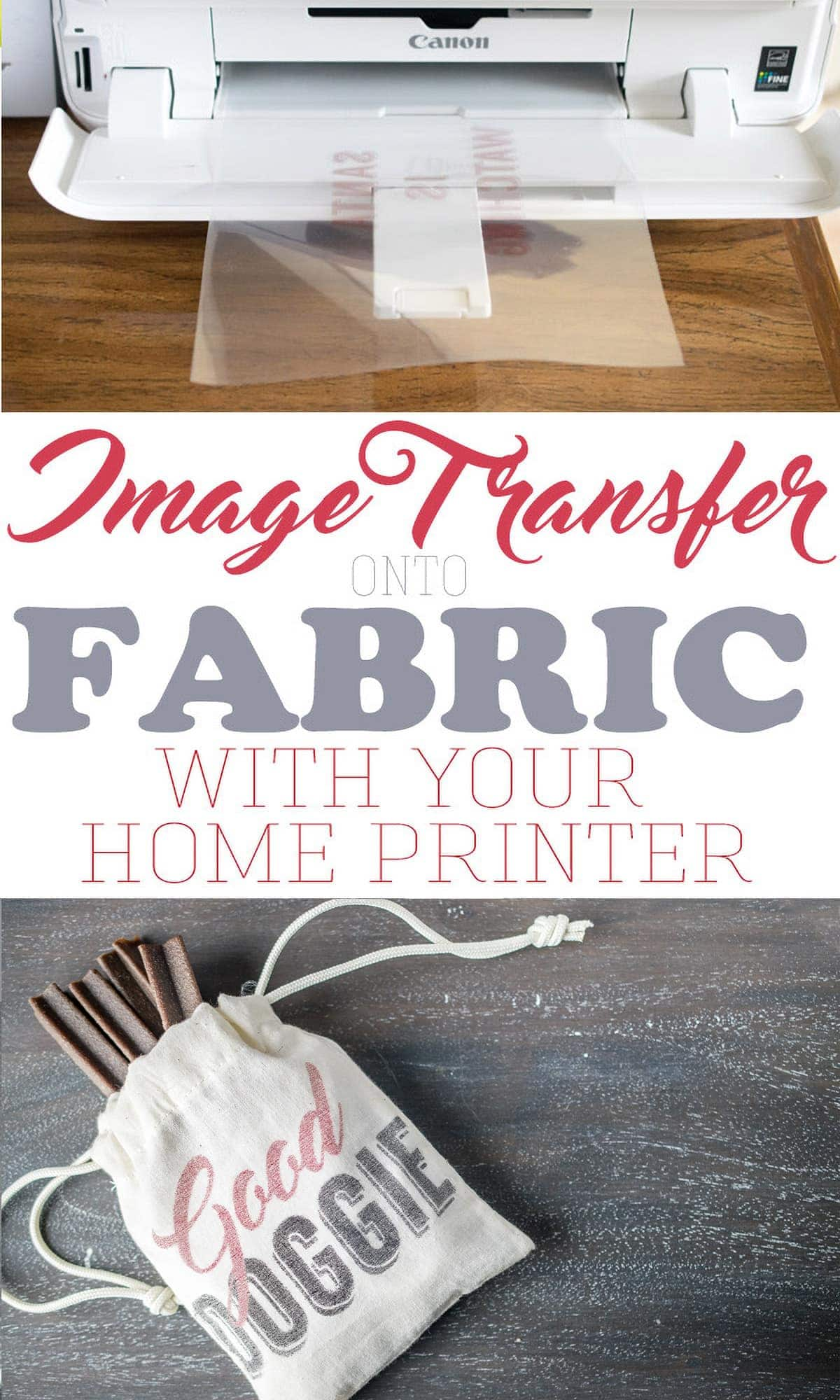 Transferring an image onto fabric with an inkjet printer shown with final product with image in place.
