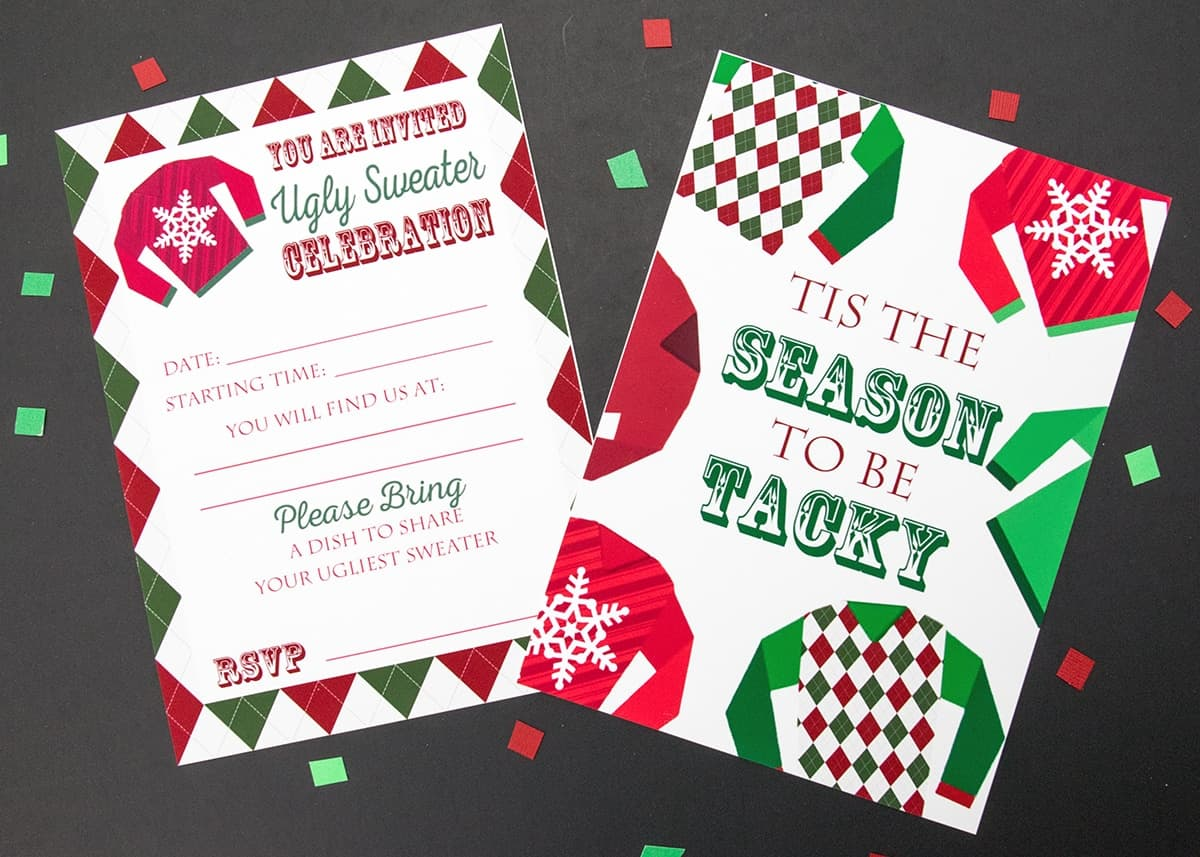 Ugly Sweater Party Invitations And Medals Free Printable - Ugly sweater christmas party invitations template