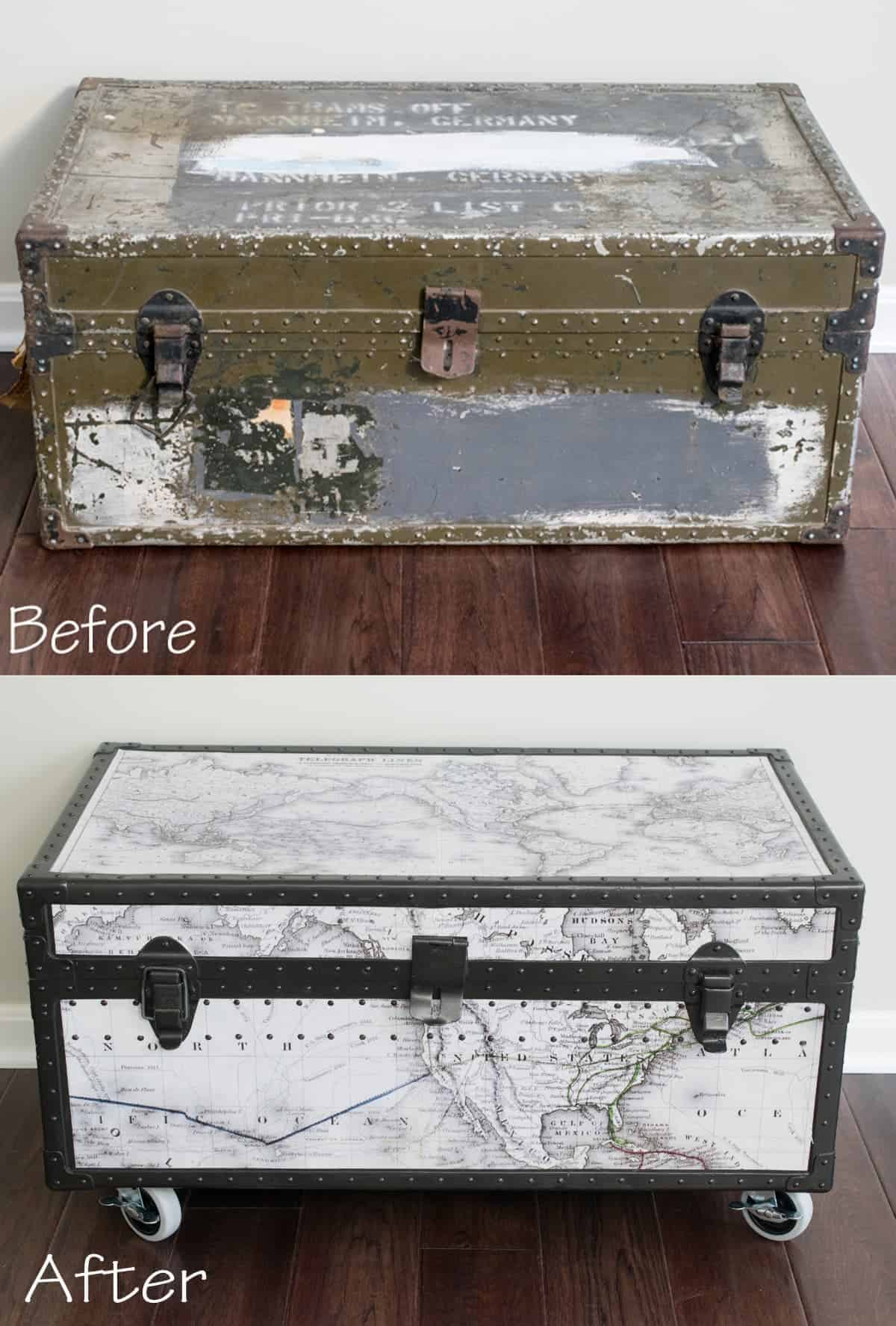 before and after vintage trunk makeover with fresh new black and white map covering and wheels added