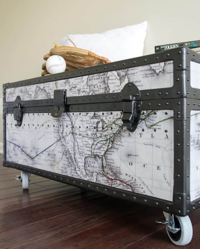 Vintage trunk makeover with world map using Rustoleum oil rubbed bronze metal paint and chalk paint inside
