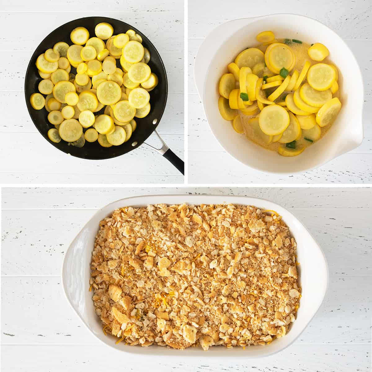 Steps for making squash casserole including cooking the squash, makingthe filling, and building