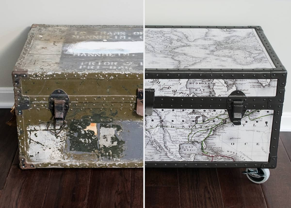 Before and after vintage military trunk makeover with black and white world map covering and white wheels added to bottom.