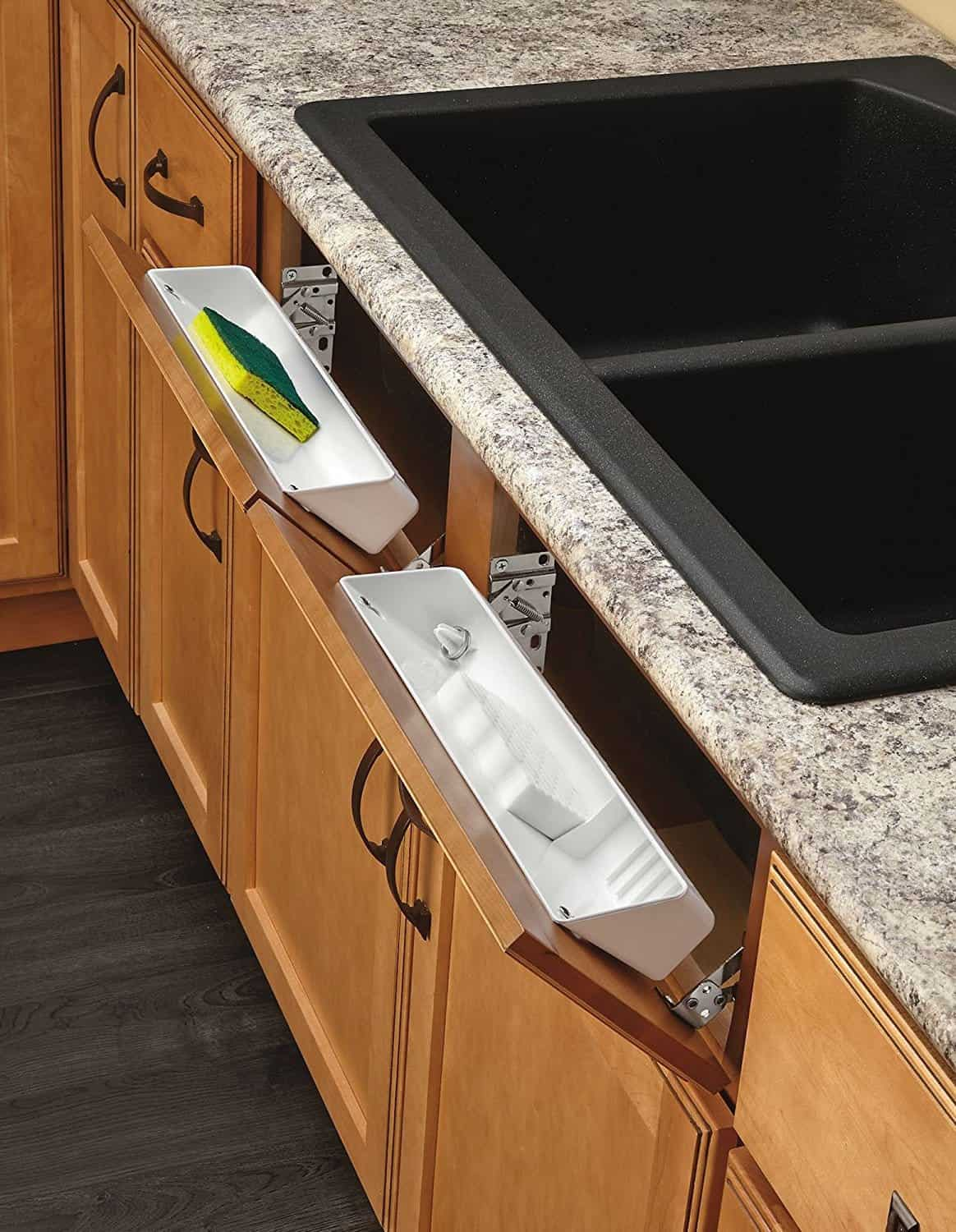 Drawer hinges for kitchen organization.