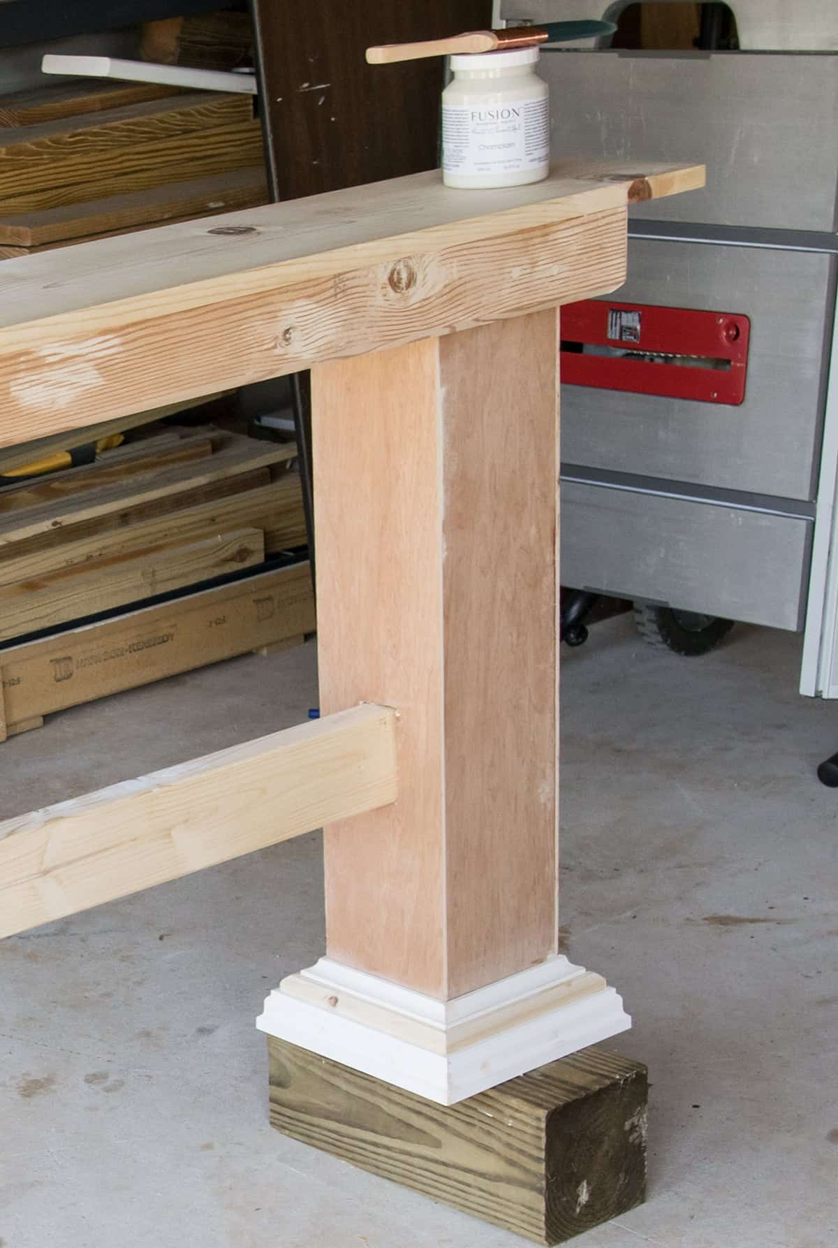 Adding a 10 inch poplar board to top of DIY console table