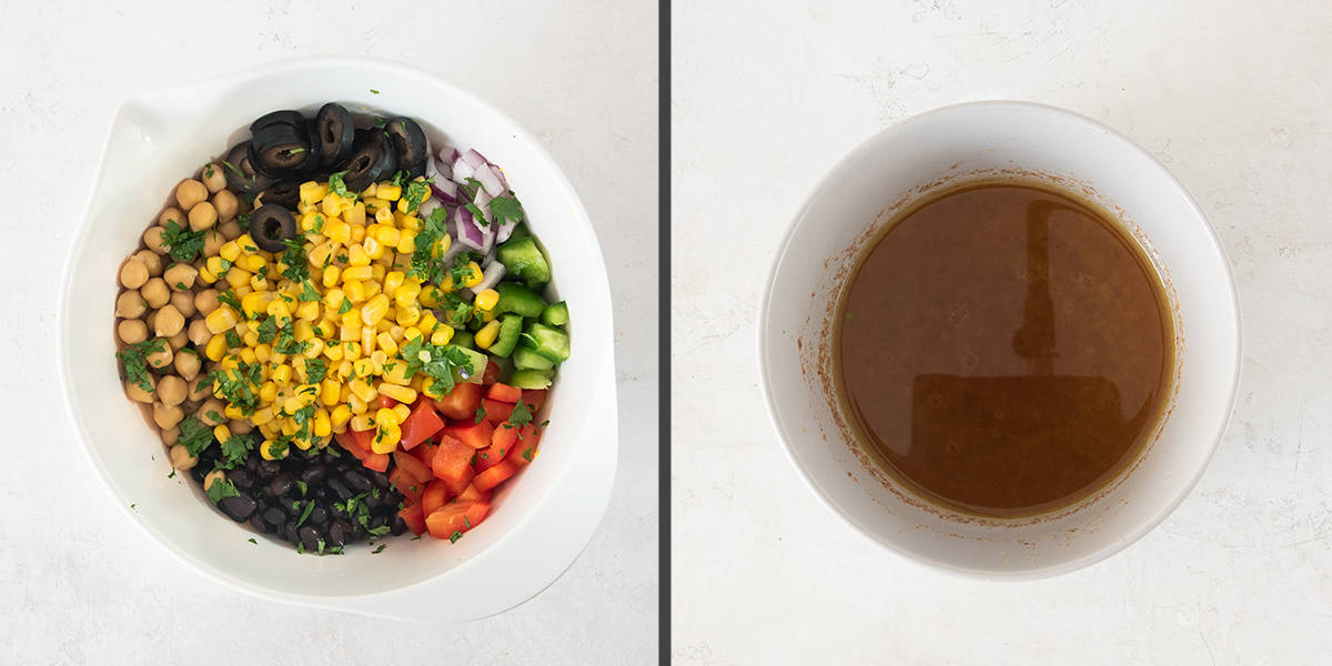 Steps to making corn and bean salad including mixing vegetables and making the dressing.