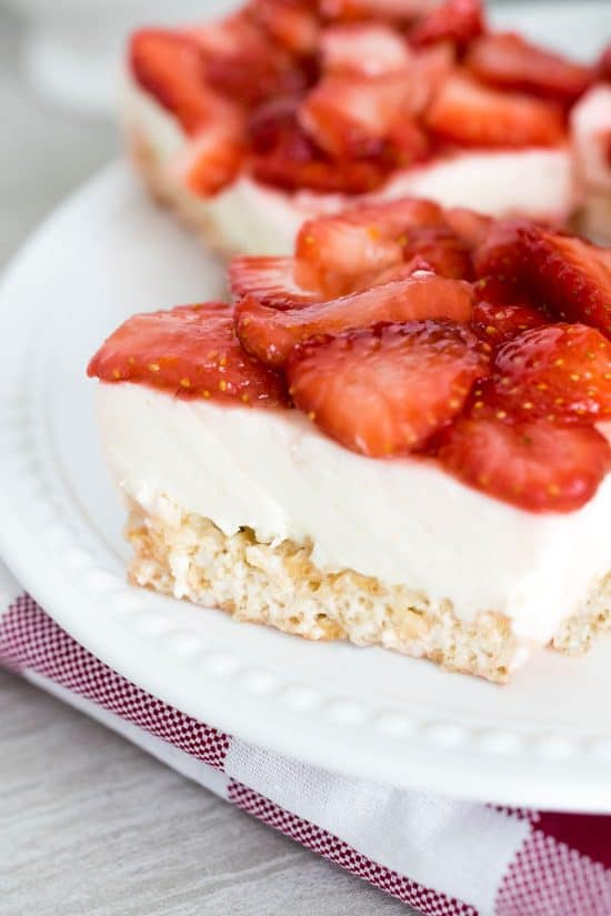 Original Rice Krispie Treats make an easy summertime dessert but strawberry cheesecake rice krispie treats are even better!