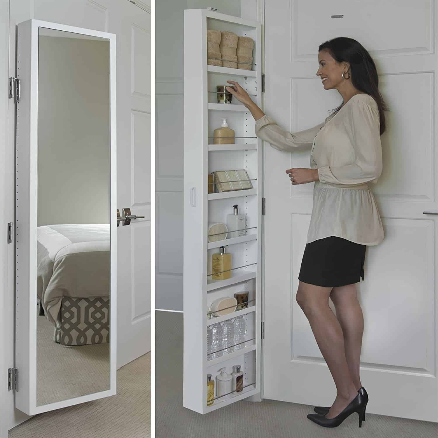 Full length storage mirror on back of white door opens to reveal extra storage shelves for small bathroom space.