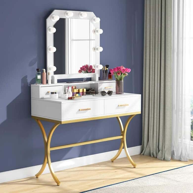Glam mirror and lighted makeup vanity.