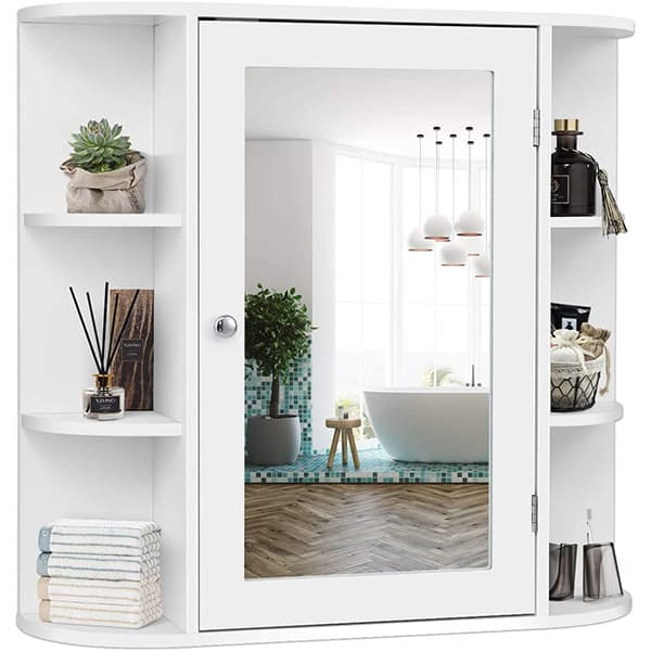 White medicine cabinet with shelves.
