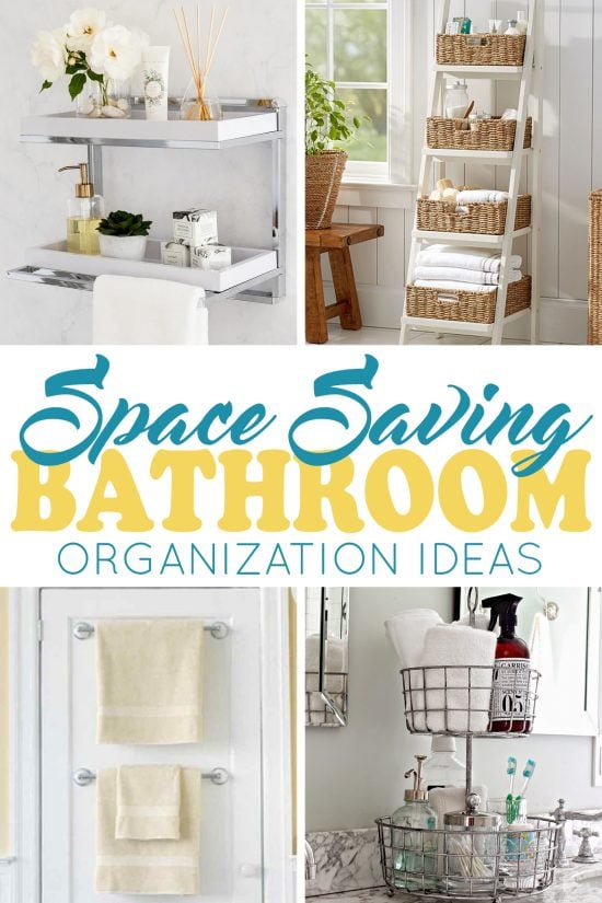 Collage of bathroom organization including shelves on wall, towel bars on a door, a tray on the counter, and a ladder shelf filled with baskets.