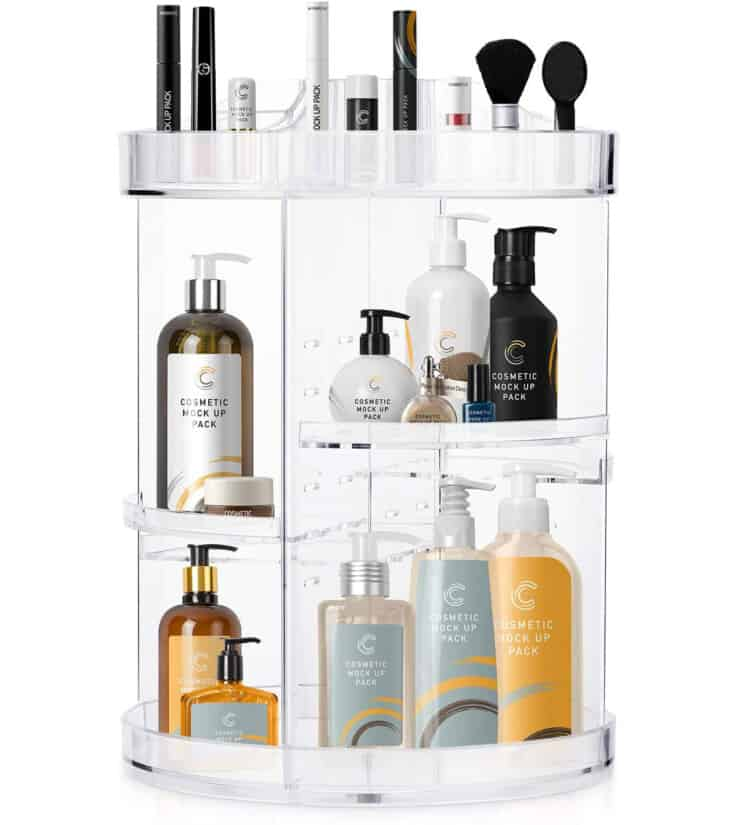 Rotating makeup organizer with compartments filled with bottles and makeup.
