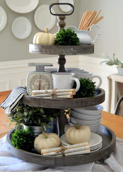 Rustic 3 tiered wooden farmhouse tray - ideas for decorating tiered trays