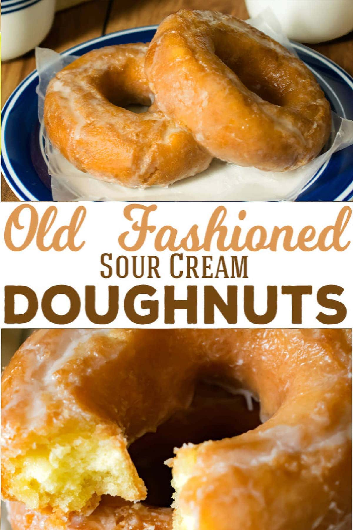 Delicately glazed old fashioned sour cream cake doughnuts on white and blue plate.