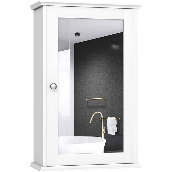 Surface medicine cabinet with frame.