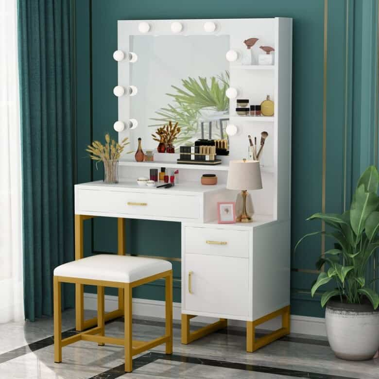 Modern white makeup vanity with mirror and stool.
