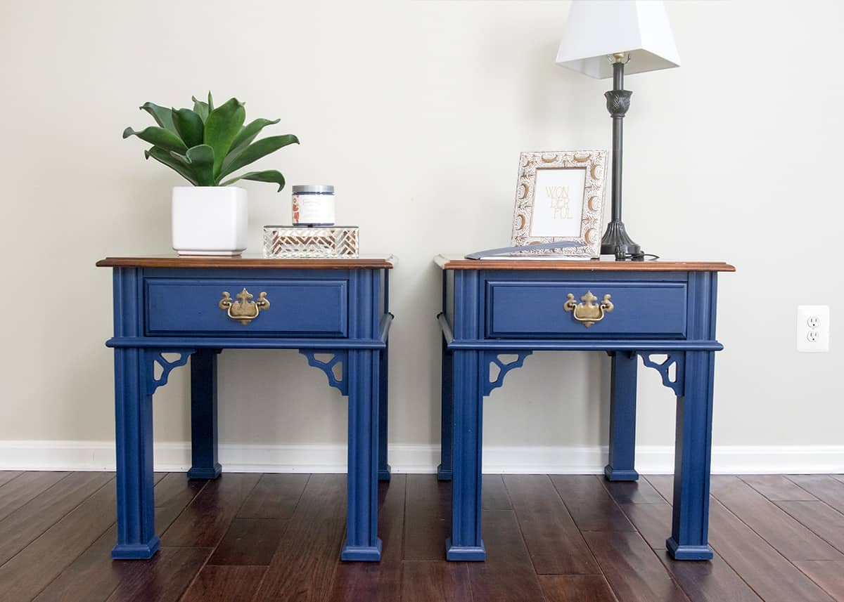 Set of side tables refinished in Midnight Blue Country Chic chalk paint