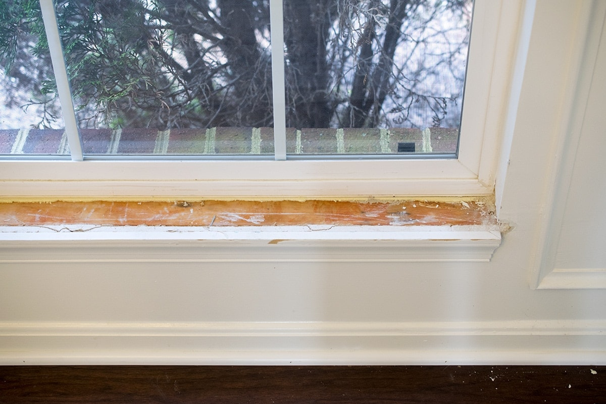 Window frame with sill removed from the wall frame