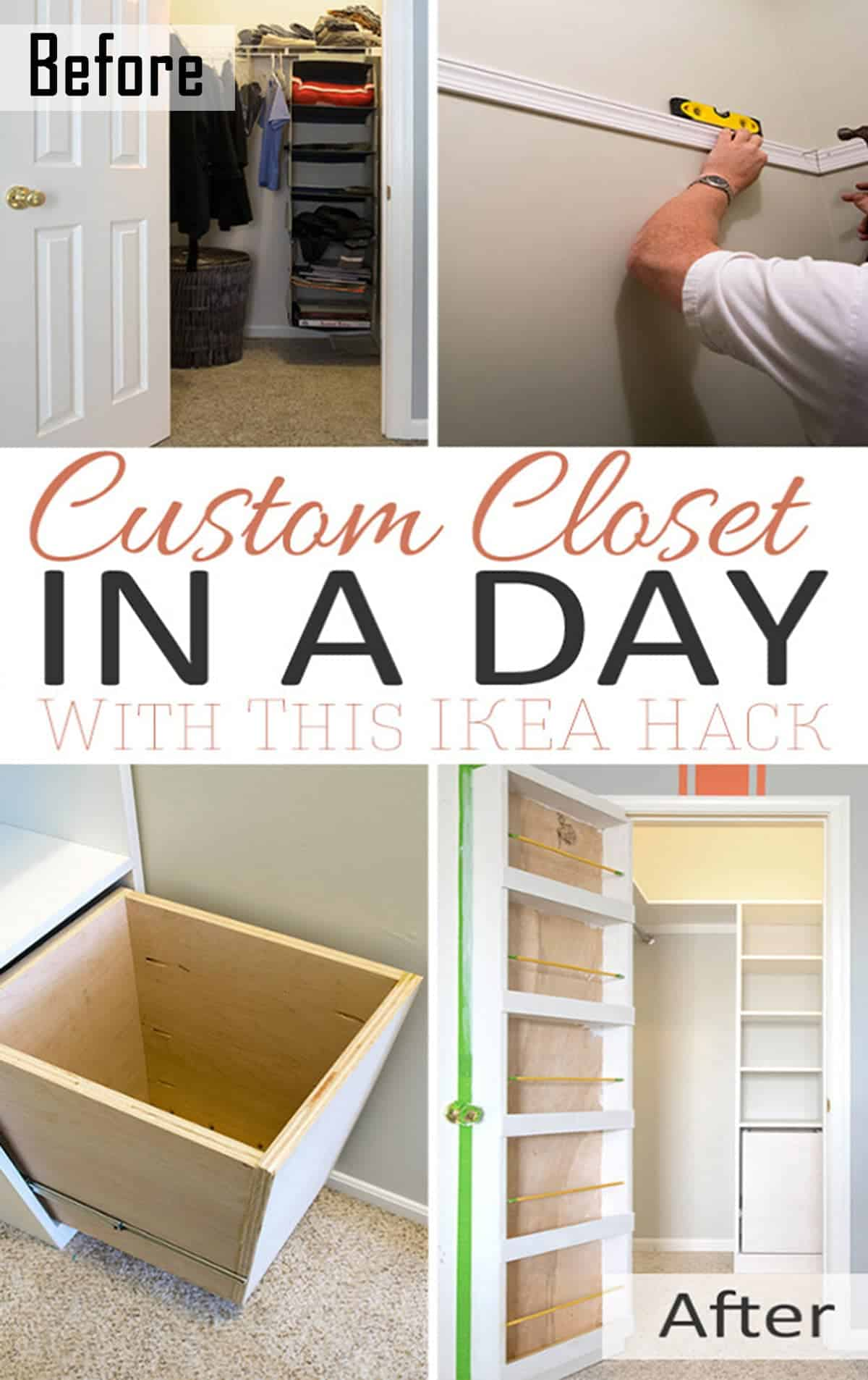 We were so tired of the useless wire closet shelves in this small closet. These custom closet shelves created around an IKEA bookcase have lots of storage and organization.