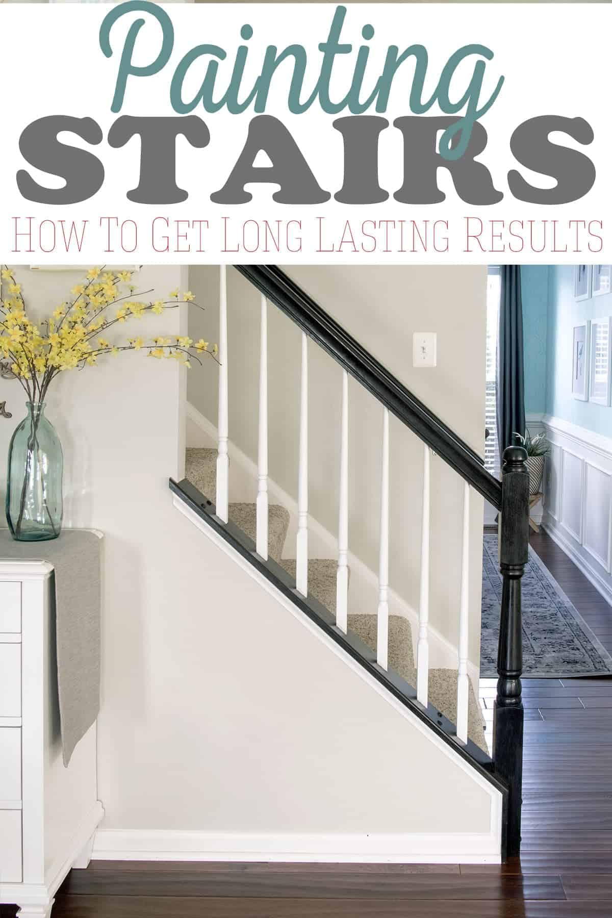 Painting oak stairs in modern traditional home with post title .