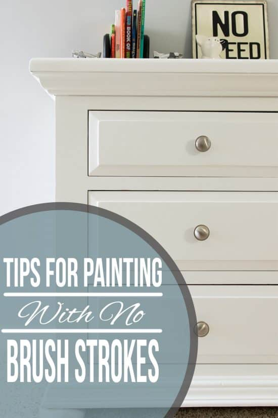 The best tips and tricks for painting with no brush marks or strokes. If you want a professional looking finish for painted furniture, doors, cabinets and more, these techniques are the way to go!