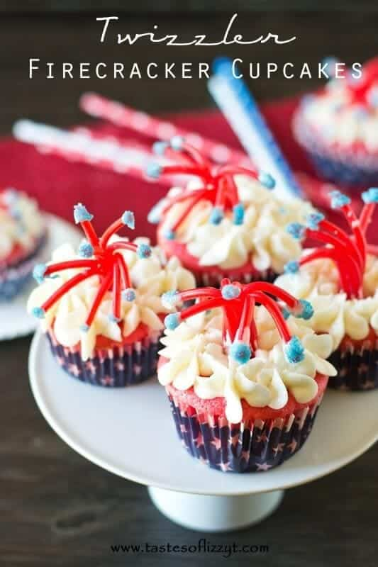 Twizzler firecracker cupcakes Red, white, and blue cupcakes with festive twizzler firecracker topper. Perfect for Fourth of July!