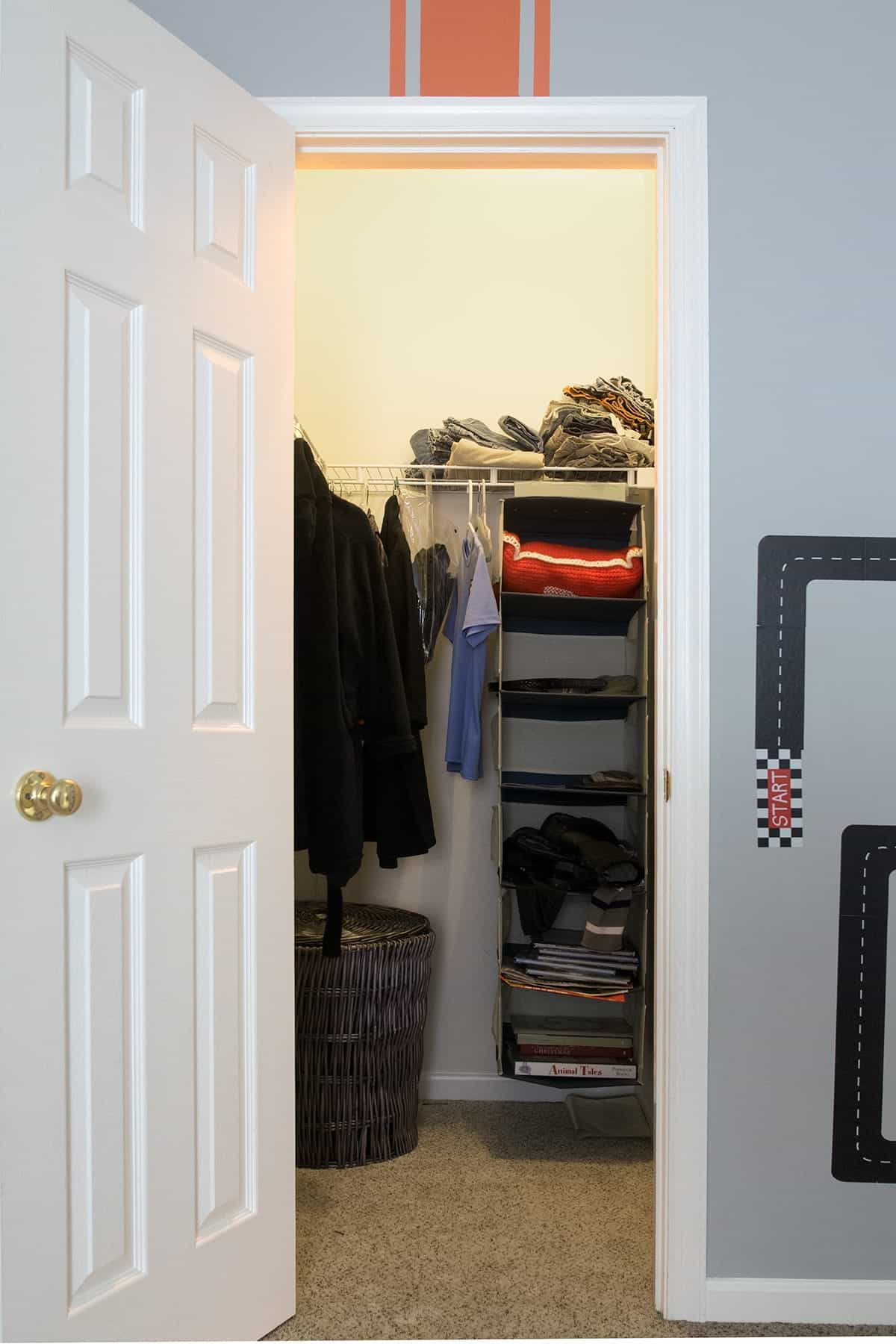 Basic closet in boys room before makeover