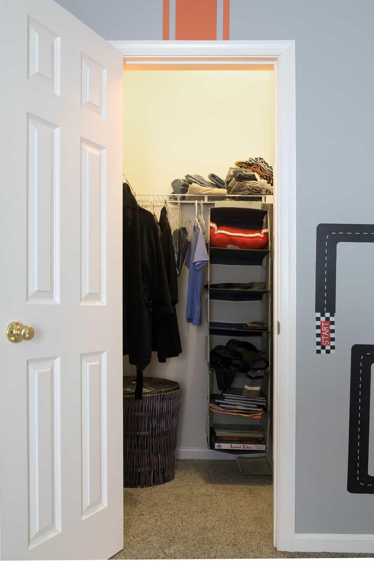Messy Boys' Closet before organization.