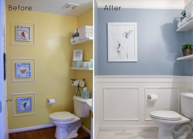DIY powder room decorating ideas - blue walls and wainscoting with marble floors in the bathroom
