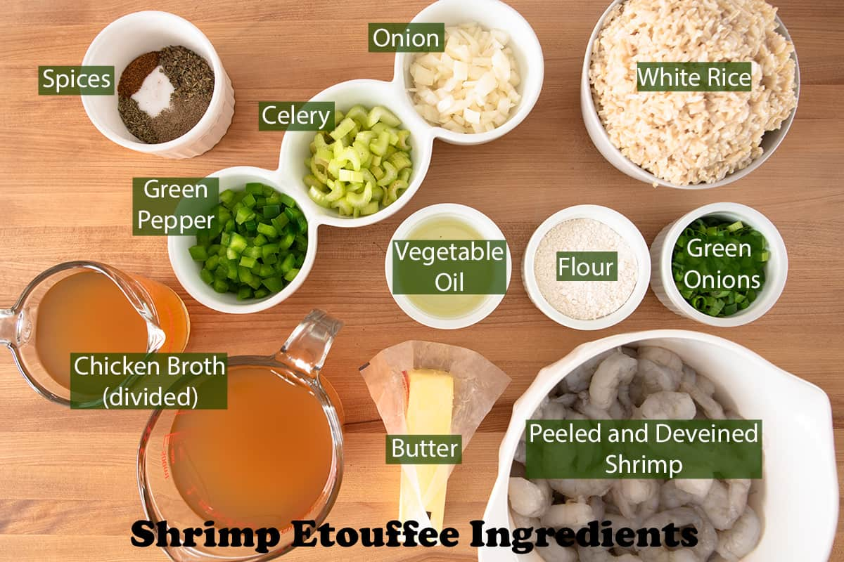 Shrimp Etouffee Ingredients with text labels laid out on a table.