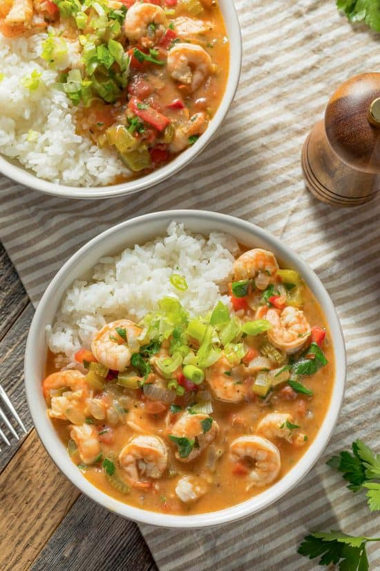 Shrimp etouffee in a bowl on a table.