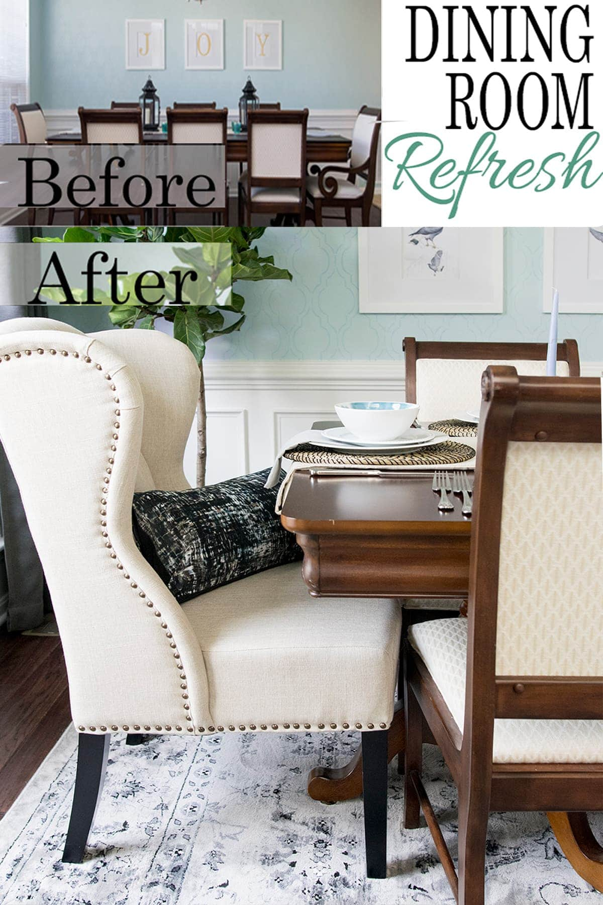 We did a complete dining room makeover in less than 6 weeks! The makeover budget was tiny. The dining room now has stenciled walls and a traditional style. Check out all the before and after photos!