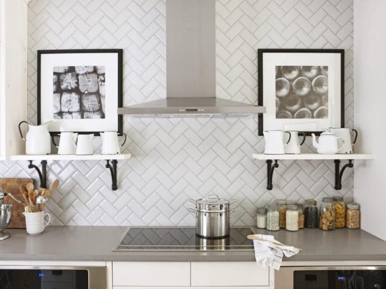 Beautiful white kitchen subway tile in herringbone pattern