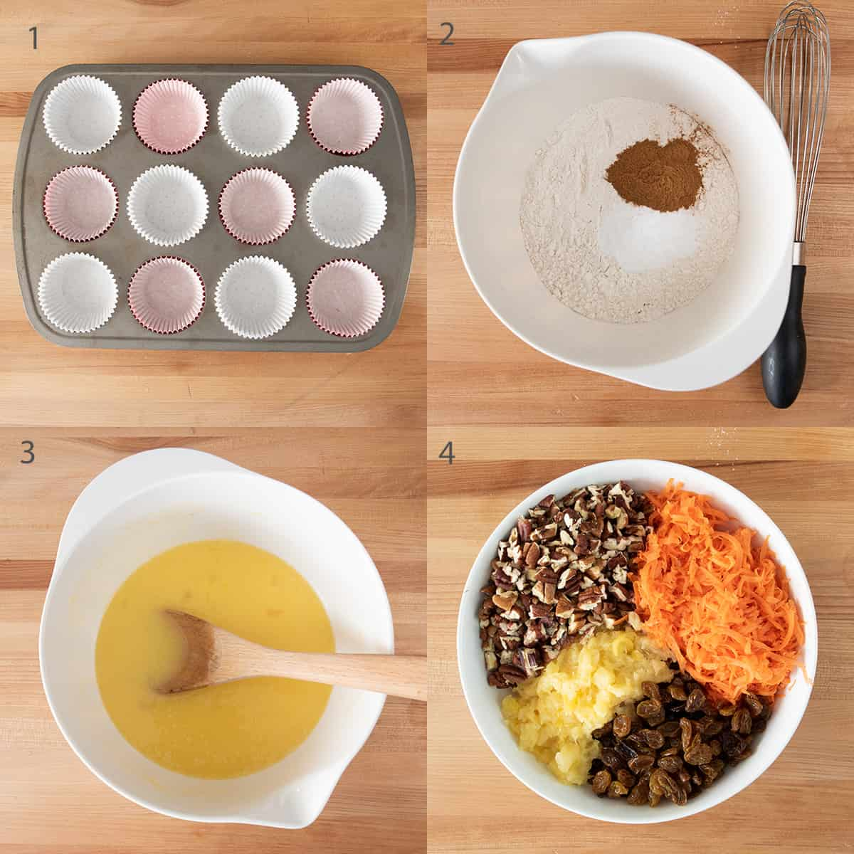 Steps 1-4 to make carrot cake cupcakes.