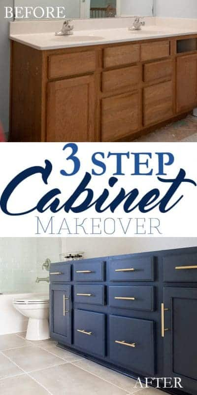 3 step bathroom vanity makeover. Yes, this cabinet took only 3 simple steps to